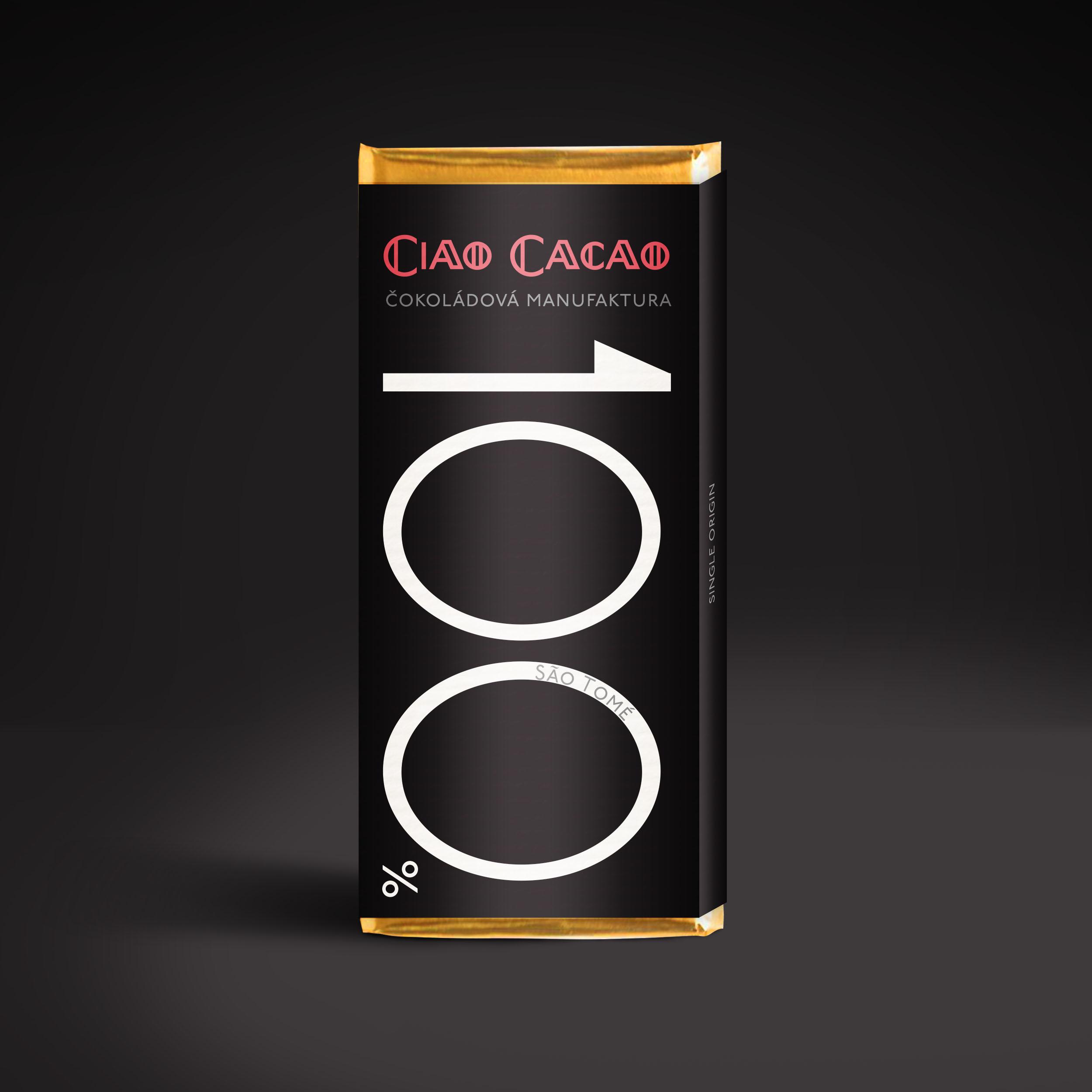 tabulka 100% čokolády z kakaových bobů z ostrovů Svatý Tomáš a Principův ostrov